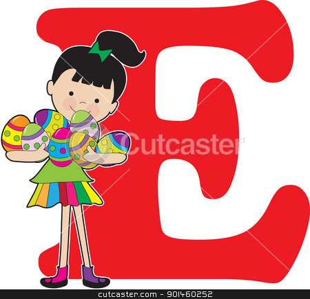 Alphabet Girl E stock vector clipart, A young girl holding painted eggs to stand for the letter E and Easter by Maria Bell