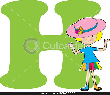 Alphabet Girl H stock vector clipart, A young girl wearing a big hat to stand for the letter H by Maria Bell