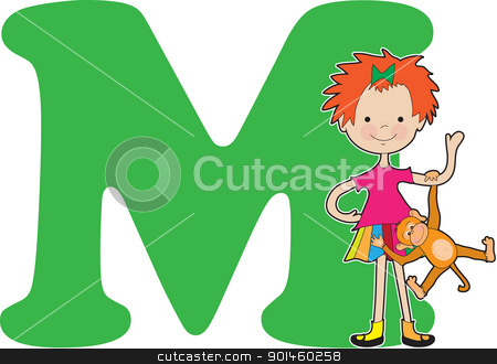 Alphabet Girl M stock vector clipart, A young girl holding a monkey to stand for the letter M by Maria Bell