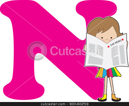 Alphabet Girl N stock vector clipart, A young girl holding a newspaper to stand for the letter N by Maria Bell