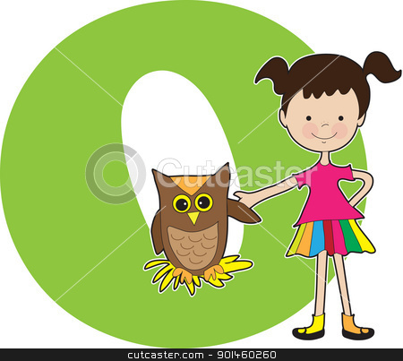 Alphabet Girl O stock vector clipart, A young girl holding the wing of an owl to stand for the letter O by Maria Bell