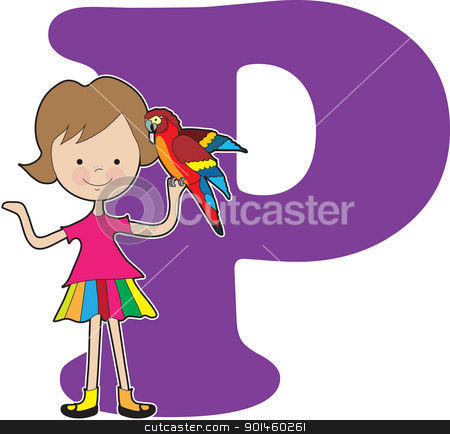 Alphabet Girl P stock vector clipart, A young girl holding a parrot to stand for the letter A by Maria Bell