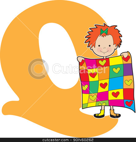 Alphabet Girl Q stock vector clipart, A young girl holding a quilt to stand for the letter Q by Maria Bell