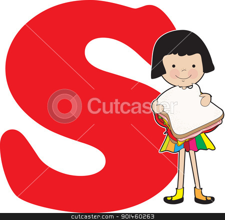 Alphabet Girl S stock vector clipart, A young girl holding a sandwich to stand for the letter S by Maria Bell