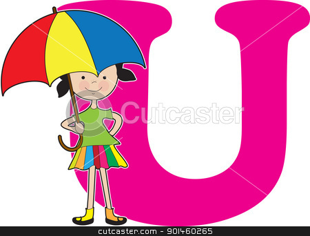 Alphabet Girl U stock vector clipart, A young girl holding an umbrella to stand for the letter U by Maria Bell