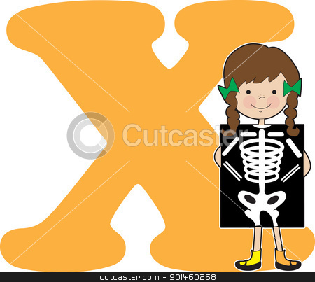 Alphabet Girl X stock vector clipart, A young girl holding an XRay to stand for the letter X by Maria Bell