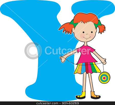 Alphabet Girl Y stock vector clipart, A young girl holding a YoYo to stand for the letter A by Maria Bell