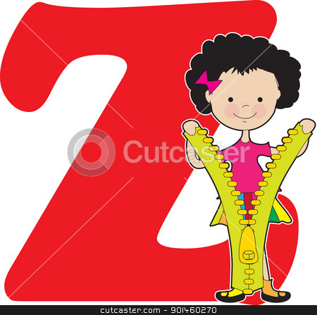Alphabet Girl Z stock vector clipart, A young girl holding a zipper to stand for the letter Z by Maria Bell