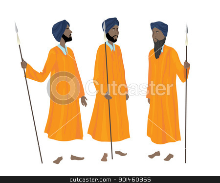 golden temple guards stock vector clipart, an illustration of three sikh men in the traditional uniform of the guards of the golden temple at amritsar by Mike Smith