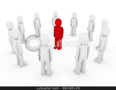 3d human circle red  stock photo, 3d human circle red white business group teamwork by d3images