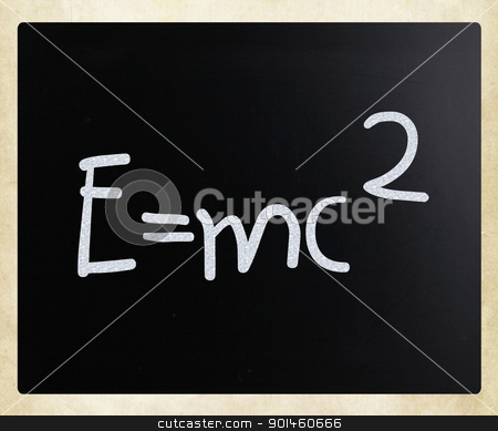 E=mc2 handwritten with white chalk on a blackboard stock photo, E=mc2 handwritten with white chalk on a blackboard by Nenov Brothers Images