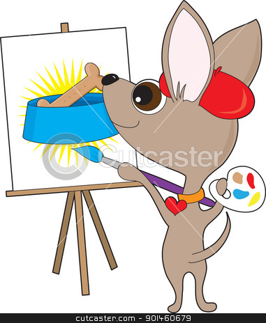 Chihuahua Artist stock vector clipart, An artistic Chihuahua wearing a red beret and collar, is holding a painter's palette and painting at  an easel. It's a drawing of a favorite subject - FOOD! ... in this case, a dog bone in a dog bowl. by Maria Bell