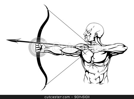 Black and white archer illustration stock vector clipart, Illustration of monochrome strong archer with bow and arrow  by Christos Georghiou