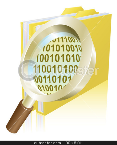 Magnifying glass binary data file folder concept stock vector clipart, Conceptual illustration of magnifying glass searching binary data file folder by Christos Georghiou