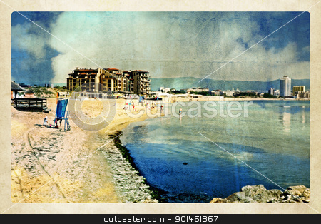 beach and sea illustration stock photo, beach and sea by Nenov Brothers Images