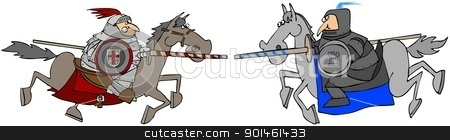 Two Jousting Knights On Horseback stock photo, This illustration depicts two knights in armor racing towards each other on horseback. by Dennis Cox