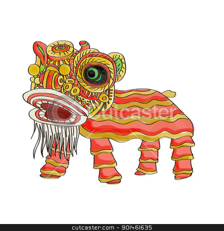 chinese lion dance bg white stock photo,  by Alice Heart