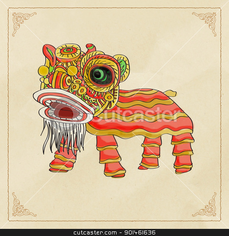 chinese lion dance stock photo,  by Alice Heart