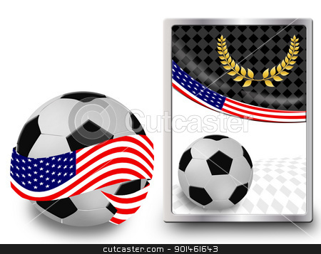 Soccer ball and web icon stock vector clipart, Soccer ball wrapped in ribbon with flag of USA and web icon, vector illustration by radubalint