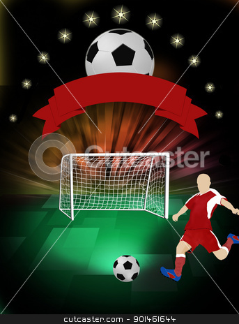 Football poster stock vector clipart, Football poster with ball and player silhouette and place for your text, vector illustration by radubalint