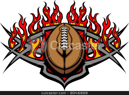 Football Ball Template with Flames Vector Image stock vector clipart, Graphic American Football vector image template with flames by chromaco