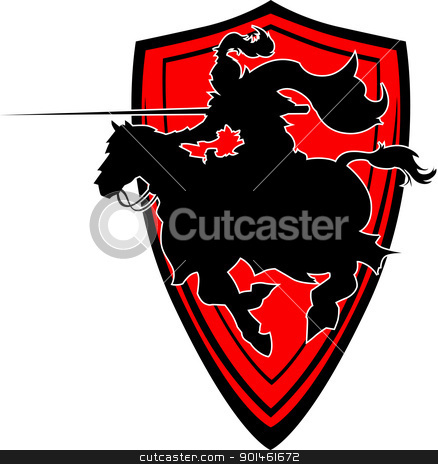Jousting Knight vector silhouette Mascot on Horse  stock vector clipart, Graphic Illustration of a Knight with armor riding a horse and Jousting by chromaco