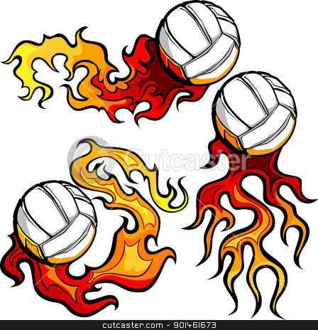 Volleyballs with Flames Vector Images stock vector clipart, Graphic volleyball sport vector image with flames by chromaco