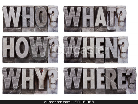 brainstorming or decision questions  stock photo, brainstorming or decision making questions - who, what, where, when, why, how - a collage of isolated words in vintage , grunge, metal letterpress printing blocks by Marek Uliasz