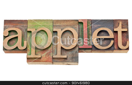 applet - software concept stock photo, applet - software concept - isolated text in vintage wood letterpress printing blocks, stained by color inks by Marek Uliasz