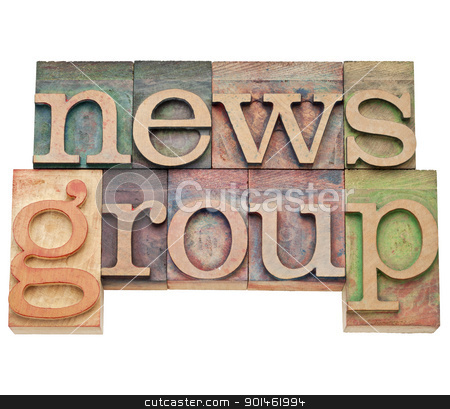 news group - internet concept  stock photo, news group - internet concept - isolated text in vintage wood letterpress printing blocks, stained by color inks by Marek Uliasz
