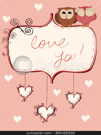 owls_valentines stock vector clipart, Valentine card with an owls couple. Vector illustration. by wingedcats