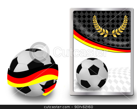Soccer ball and web icon stock vector clipart, Soccer ball wrapped in ribbon with flag of Germany and web icon, vector illustration by radubalint