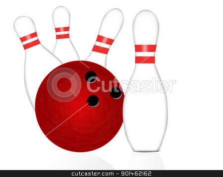 Bowling ball and pins stock vector clipart, Bowling ball and pins on white, vector illustration by radubalint