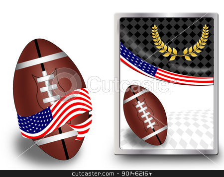 American football ball and web icon stock vector clipart, American football ball wrapped in ribbon with flag of USA and web icon, vector illustration by radubalint