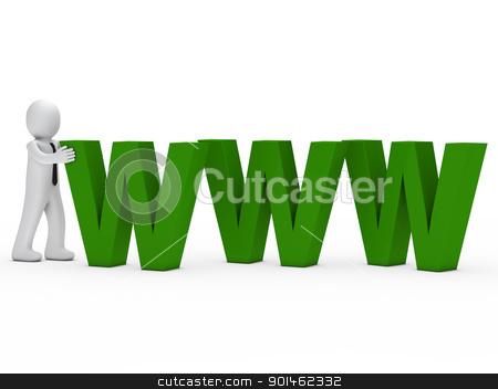businessman push green www text stock photo, businessman with tie push green www text by d3images