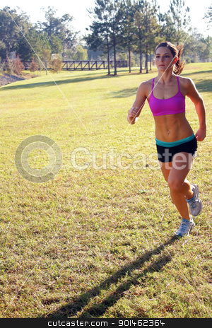 Beautiful Brunette Jogging Outdoors (2) stock photo, A lovely young athlete with remarkable abdominal musculature jogging outdoors.  Generous copyspace. by Carl Stewart