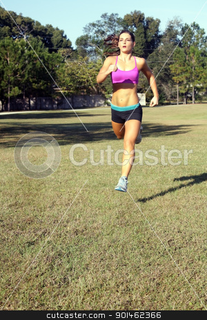 Beautiful Brunette Jogging Outdoors (4) stock photo, A lovely young athlete with remarkable abdominal musculature jogging outdoors.  Generous copyspace. by Carl Stewart