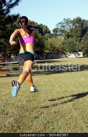 Beautiful Brunette Jogging Outdoors (5) stock photo, A lovely young athlete jogs away from the camera outdoors.  Generous copyspace. by Carl Stewart