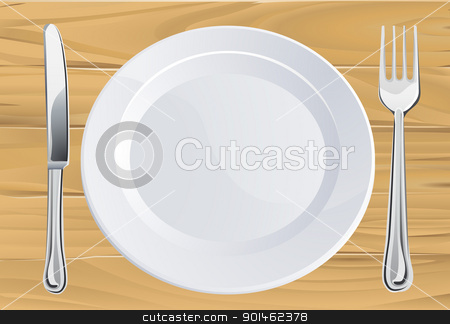 Plate and cutlery on wooden table stock vector clipart, Empty plate and knife and fork cutlery place setting on rustic wooden table  by Christos Georghiou