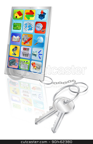 Phone security concept illustration stock vector clipart, Mobile phone with set of keys attached. Secure phone access or phone unlocking.  by Christos Georghiou