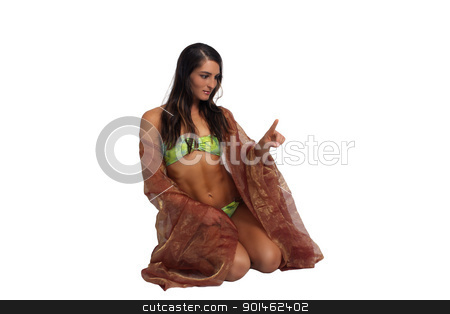 Beautiful Athletic Bikini-Clad Hostess (3) stock photo, A lovely young brunette with remarkable abdominal musculature extends her index finger to touch or point to something, isolated on a white background with generous copyspace. by Carl Stewart