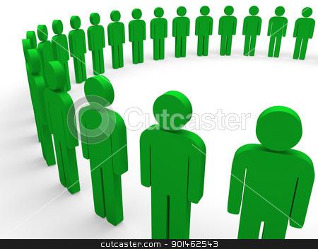 3d team circle green stock photo, 3d team circle green community social teamwork by d3images