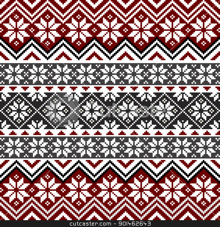 Nordic snowflake pattern stock vector clipart, Nordic traditional pattern with snowflakes, white, grey and red design, full scalable vector graphic, all elements are grouped for easy editing by Ela Kwasniewski