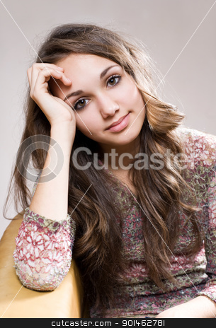 Friendly young brunette teen. stock photo, Portrait of a beautiful friendly young brunette teen girl. by exvivo