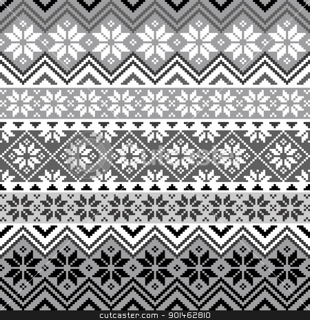 Nordic snowflake pattern stock vector clipart, Nordic traditional pattern with snowflakes, white and grey design, full scalable vector graphic, all elements are grouped for easy editing by Ela Kwasniewski
