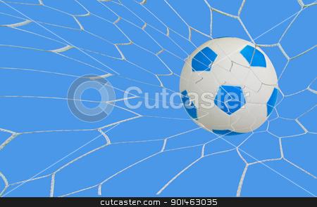 kick soccer goal under the blue sky stock photo, kick soccer goal under the blue sky by Komkrit Muangchan