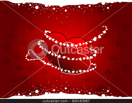 Vector illustration of a two hearts on seamless heart shape back stock vector clipart, Vector illustration of a two heart shapes  on seamless heart shape background in red colors with white dotted effect for Valentines Day. by Abdul Qaiyoom