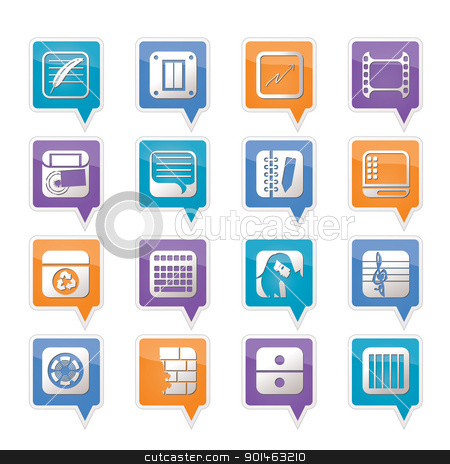 Business, Office and Mobile phone icons stock vector clipart, Business, Office and Mobile phone icons - Vector Icon Set by Stoyan Haytov