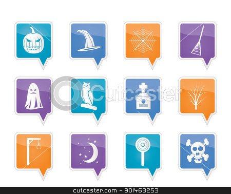 halloween icon pack   stock vector clipart, halloween icon pack  with bat, pumpkin, witch, ghost, hat - vector icon set by Stoyan Haytov