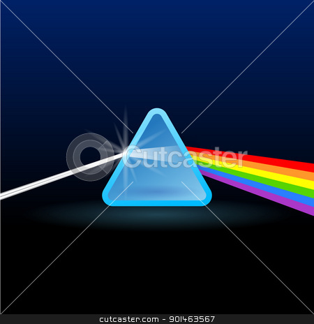 Rainbow Light Separation with Triangle stock vector clipart, Scientific light triangle for beam refraction into colors of rainbow by Vitezslav Valka